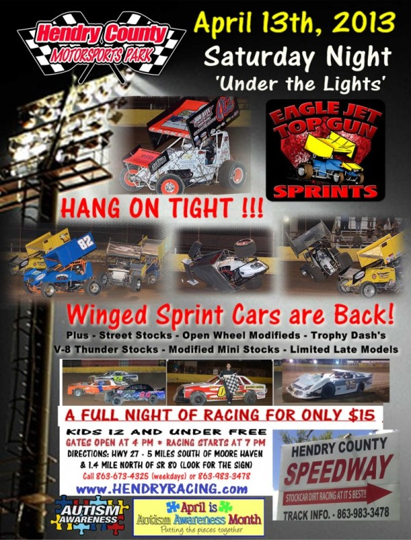 Top Gun Sprint Cars and Autism Awareness Night at Hendry County Motorsports Park
