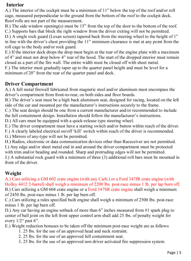 florida late models  class rules